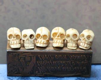 1 Carved Bone Skull Bead