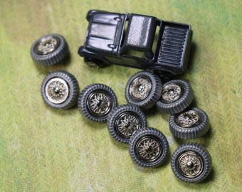 3 Vintage Metal Car Wheel Buttons