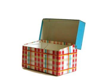 Vintage Recipe Box, Plaid Card File, Ohio Art, Aqua Red Metal
