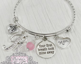 New Mom Gift- Jewelry-Your first breath took mine away-Personalized Bangle Bracelet-Push present for mom,Baby Footprint charm,Charm Bracelet
