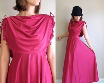 60% Off vtg 70s raspberry GRECIAN draped cape MAXI DRESS xs/s crochet lace cocktail flowy boho hippie party