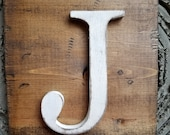 Farmhouse Rustic Style J Hanging Wood letter sign- Wall hanging letter READY TO SHIP J