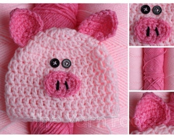 Crochet Pig Hat- Newborn, Infant, Toddler, Youth, and Adult Sizes