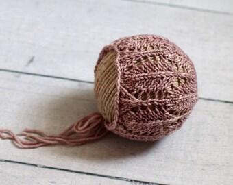Newborn Lace Bonnet / Fall Leaves Bonnet