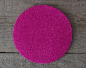 Wool Trivet - 6 inches - 100% Merino Wool  - 5mm Thick - German-milled - Rich, Lightfast Colors - Eco-Friendly - Fuchsia