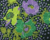 Vintage Purple + Green Poppy Floral Crepe Fabric 5 Yards