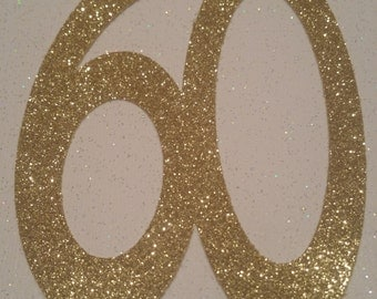 Gold Glitter Jumbo 60 Confetti// Die Cuts  // 60th Party Decorations // Cake Topper // 12 pieces // 4 3/4 inches