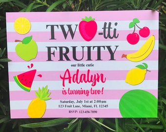 Tutti Fruity Invitation Printable or Printed with FREE SHIPPING - Personalized for Your Occassion- TWOtti Fruity