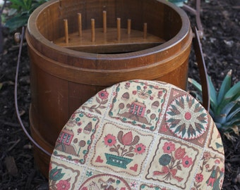 1940s Wood Sewing Bucket with Handle