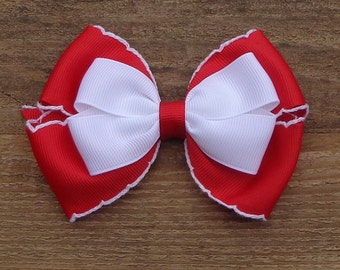 Valentine's Day Bow, Red/White Hair Bow, Basic Red Hair Bow, Hair Bows, Red Hair Bow, Basic Hair Bow, Simple Hairbow, Holiday Hair Bow