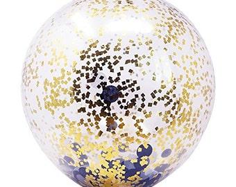 6 Balloons- 18 in Confetti Balloon (6 Balloons Kit)-Black, Gray, Gold Mylar Flakes