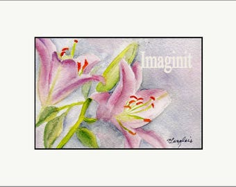 Original Miniature Painting in Watercolor - Pink Daylilies