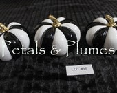Lot #15  Black White Striped Pumpkins-Set of 3  Hand Painted-Fall-Halloween Decoration-Centerpiece-SEE Photos for measurements-READY to SHIP
