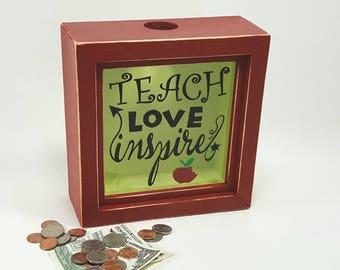 Teacher shadow box bank, piggy bank, teacher gift, change collection money box