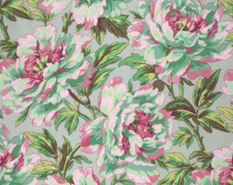 Tree Peony - AQUA -  by Phillip Jacobs for Kaffe Fassett Collective - PER 25CM- PWPJ069  - 100% Cotton Quilt Fabric
