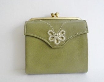 Vintage Wallets Vintage 1960 PRINCESS GARDNER WALLET Princess Gardner Olive Green Wallet Leather Billfold Wallet Purse New Old Stock Wallets