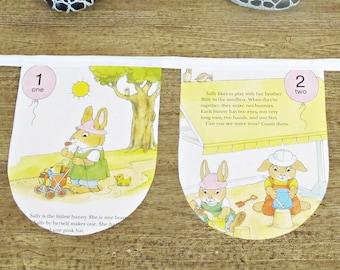 Counting Bunting Little Golden Book. 123 Bunnies' Children Wall Hanging. Banner Animal Rabbit Decor Garland. White Domum Vindemia Easter