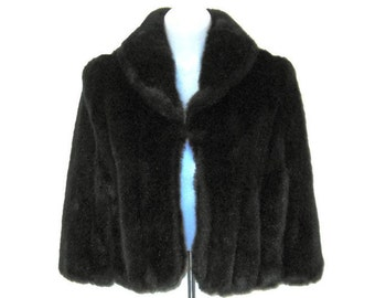 60s Faux Fur Cape Short Brown Cape Dark Brown Cape Short Evening Cape Faux Fur Caplet MOD Cape 1960s Faux Fur Wrap Dark Brown Faux Fur