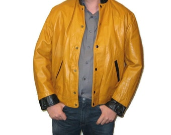 50s Lettermans Jacket Leather Jacket Mustard Leather Jacket 1950s School Jacket Yellow Leather Varsity Jacket Mustard Yellow Jacket