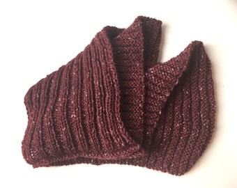 Wool tweed infinity scarf hand knitted burgundy garnet wine