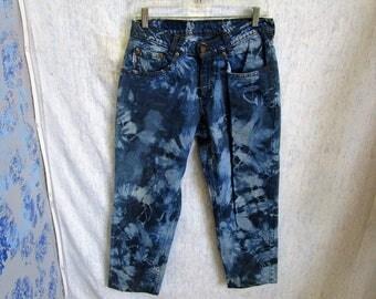 """30"""" 12 Levis Tie Dye Blue Gray Denim Jeans Shorts Capris"""