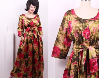 Vintage 1960's Frederick & Nelson Silk Rose Print Evening Dress • 60's Silk Red and Olive Maxi Dress • Size L