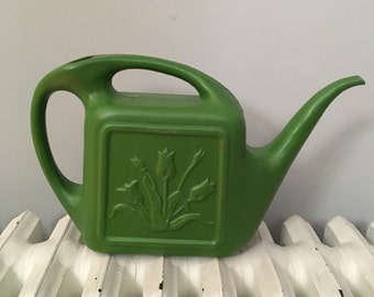 Union Products Inc 1970s Green Tulip Watering Can Vintage Handled
