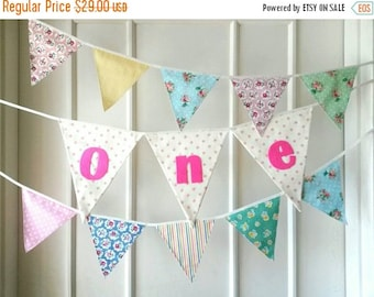 ON SALE Baby One Year Banner, First Birthday Bunting, Fabric banner (set of 3)