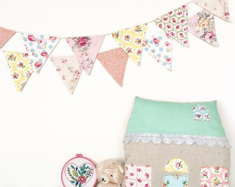 Pastel Petite Shabby Chic Fabric Bunting, Banner, Garlands (set of 2)