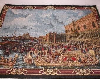 Vintage Italian Venice Scene Tapestry Souvenir