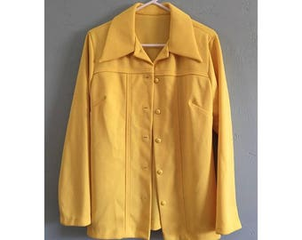 Vintage Yellow Polyester Button Down Over Shirt, Women's Size M/L