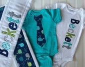 Boys Personalized Onesie and Burp Cloth Set, Perfect for Baby Shower Gift or Decoration - Whales