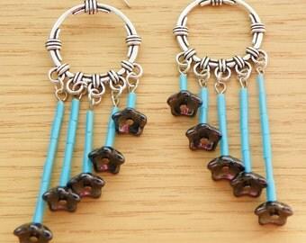 Turquoise earrings flower earrings chandelier earrings hematite earrings 3 inch long earrings boho earrings cascading earrings silver earrin
