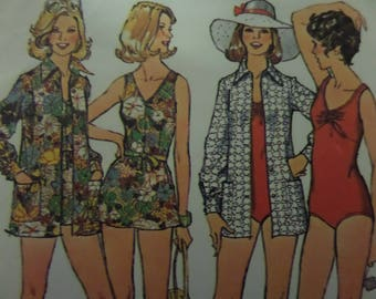SKIRTED BATHING SUIT Pattern • Simplicity 6356 • Miss 14 • Swimsuit • Beach Cover Up • Sewing Patterns • Vintage Patterns • WhiletheCatNaps