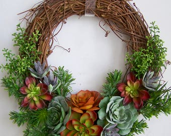 Artificial Succulent Wreath, Succulent Wreath, Fall wreath, Summer Wreath, Faux Succulent Wreath, Succulent Arrangement