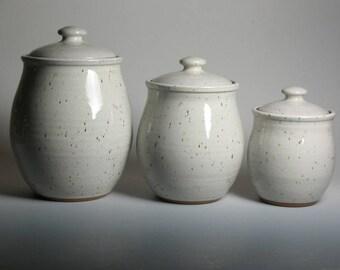 Pottery canister set, white glaze, 3 piece canister set