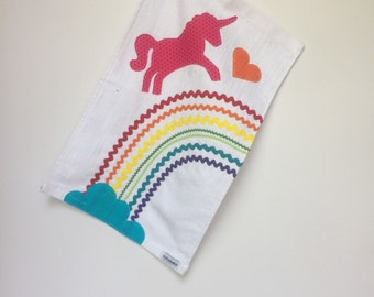 Ready to ship Rainbow unicorn golf towel. 11x18 Golf Towel for Girls Boys and Fun Adults