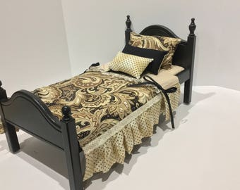 American Girl Doll:  Furniture, Bed with black, brown lace bedding