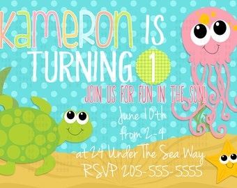 Sea Turtle birthday invitation l Jellyfish l Polka Dot l 4x6 I Instant Download