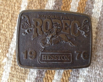 1976 Hesston National Finals Rodeo Oklahoma City belt buckle USA