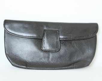 Vintage Black Leather Fold Over Clutch Purse