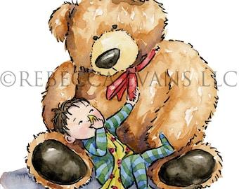 Illustration Art Print of Teddy Bear Hugging Child 13x19