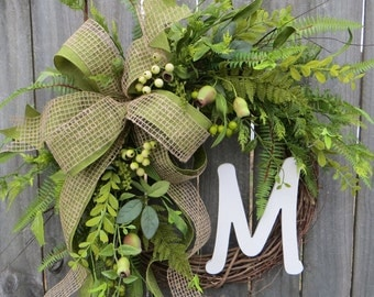 Spring / Summer / Fall Wreath - Everyday Wreath - Monogram Wreath,  Everyday Burlap Wreath Artificial Greenery, Door Wreath, Door wreaths