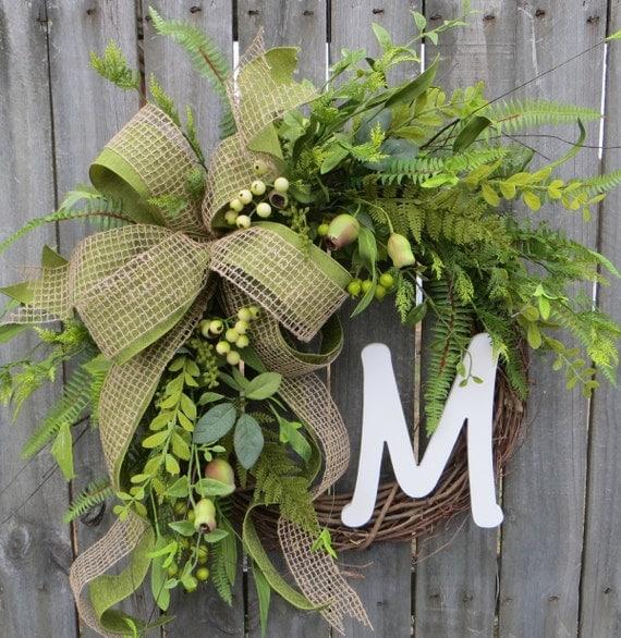 Spring / Summer / Fall Wreath - Everyday Wreath - Monogram Wreath,  Everyday Burlap Wreath Artificial Greenery, Door Wreath, Door wreaths