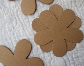 Large Flower 4 x 4 (25) Natural Cardstock Free Shipping