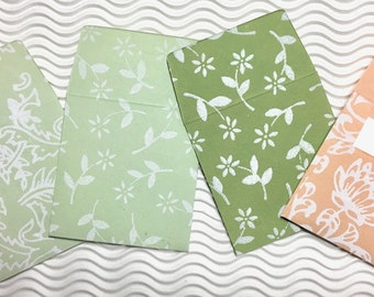 8 teeny tiny envelopes assorted handmade papers miniature note sets square stationery party favors weddings guest book table numbers