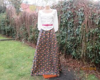 Long Cotton Skirt / Skirt Vintage / Cotton Skirt Maxi / Size EUR34 / 36 / UK6 / 8 / A Line Skirt / Cotton Skiret Floral / For Tall Girls