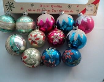Vintage Christmas Ornaments in Various Colors Set of Twelve
