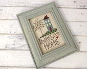 Framed Cross Stitch, Finished Cross Stitch, Completed Cross Stitch, Cross Stitch Sampler, Rustic Decor, Home Cross Stitch, Bless Our Home