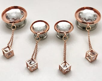 """Sizes 1/2"""" to 1"""" Crystal Rose Gold Dangle Plugs, Ear Plugs for Brides, Geometric Dangly Gauges Formal Dangling Gauged Earrings"""